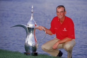 The fresh-faced Bjorn with the Dubai Desert Classic trophy in 2001.