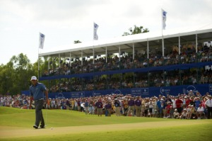 Last year's winner Jason Dufner in front of a packed crowd