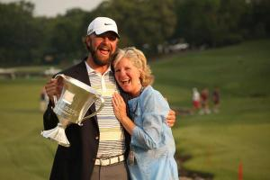 Glover celebrating his win here in 2011 with his mother. A lovely mothers day present!