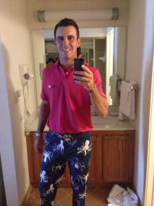 Lets hope his golf is as extravagant as those pants this week!