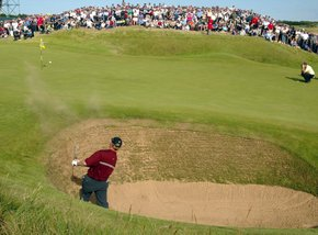 Ernie Els chipping out the bunker at Muirfield in 2002. This was one of the iconic moments of the whole tournament and an outrageous shot