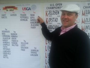 Firstly, ridiculous hat.  Secondly, ridiculous photo - pointing at his US Open qualifying confirmation.