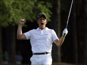 Luke Donald at the Masters in 2011 after he chipped in on the 18th. If he can get this fist pumping and passion going then we could have a second English major winner in 2013