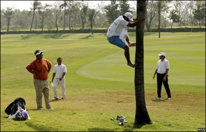 If Meesawat finds the trees, his caddy is a sensational climber.  Cracking effort