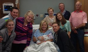 The whole Mahan clan welcoming the baby into the world.  Lets hope that big smile translates onto the course this week...