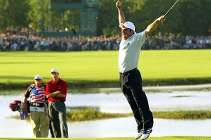 Who can forget this moment when McGinley jumped for joy back in 2002, after holing the winning putt...