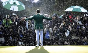 The incredible shot of Adam Scott with his green jacket last year.   Photography by: Scott K. Brown