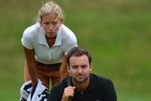 Yet another hot caddie wife! Courtesy of European Tour
