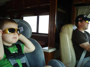Daniel Summerhays and his son loving life in the motor home!