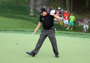 Phil getting those fists pumping.  Come on! Phot Courtesy of USA Sports Today