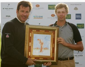 Passing over the royalty?  Evans won the U21 Faldo series twice in a row and here he is with Sir Nick.